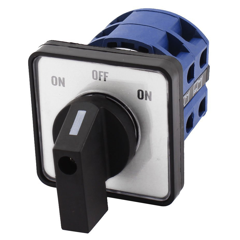 AC660V 25A 2-Pole 3-Position Momentary Plastic Rotary Changeover Switch Blue+Black 660v ui 10a ith 8 terminals rotary cam universal changeover combination switch