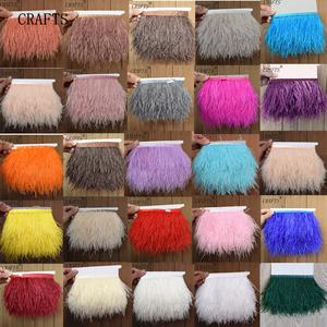1meter 31 colors Natural ostrich feather Trimming height 8-10cm feathers ribbon for DIY wedding party dress decoration craft(China)