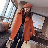 Mishow wool blends notch lapel collar pocket sashes women coat 2019 spring long outwear officelady elegent coat MX17C9627