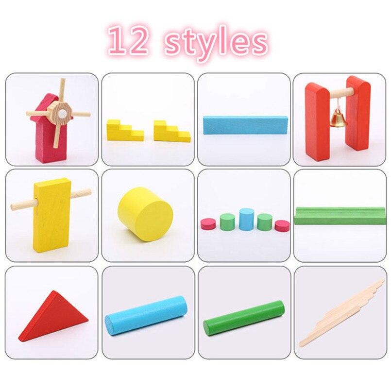 Детские деревянные игрушки домино, 120 шт., аксессуары, блоки для домино, игры Монтессори, развивающие игрушки для детей, подарок - Цвет: 12 styles