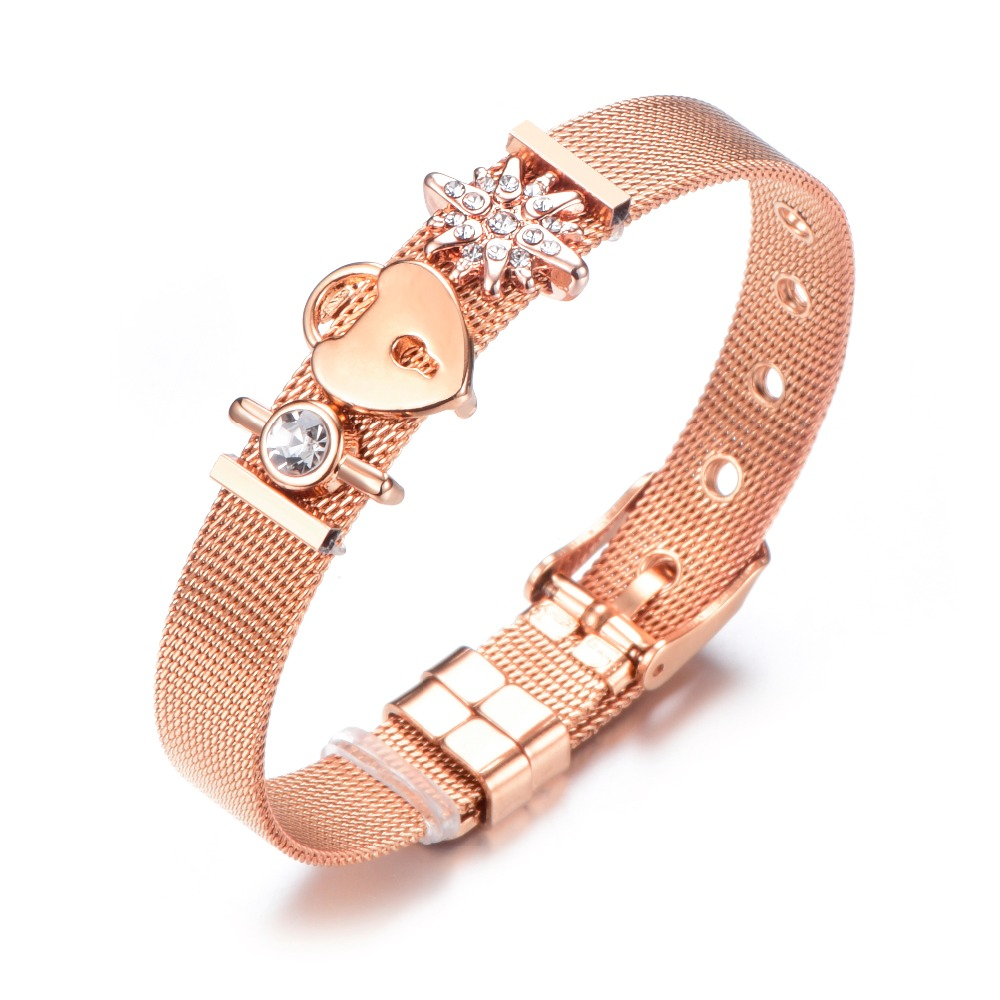 Dropshipping Fashion Jewelry Rose Gold Mesh Charm Bracelet Set Stainless steel DIY Pandora Bracelet Bangle for Women bracelet