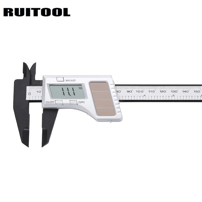RUITOOL Solar Digital Caliper 0-150mm Micrometer Inch/mm Electronic Plastic Vernier Calipers Gauges Measuring Tools