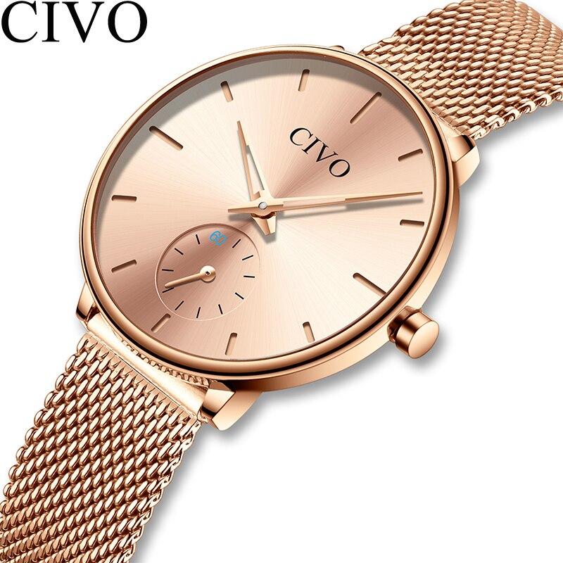 CIVO Luxury Casual Ladies Watch Waterproof Rose Gold Steel Mesh Quartz Watch Women Fashion Dress Watches Clock Relogio Feminino