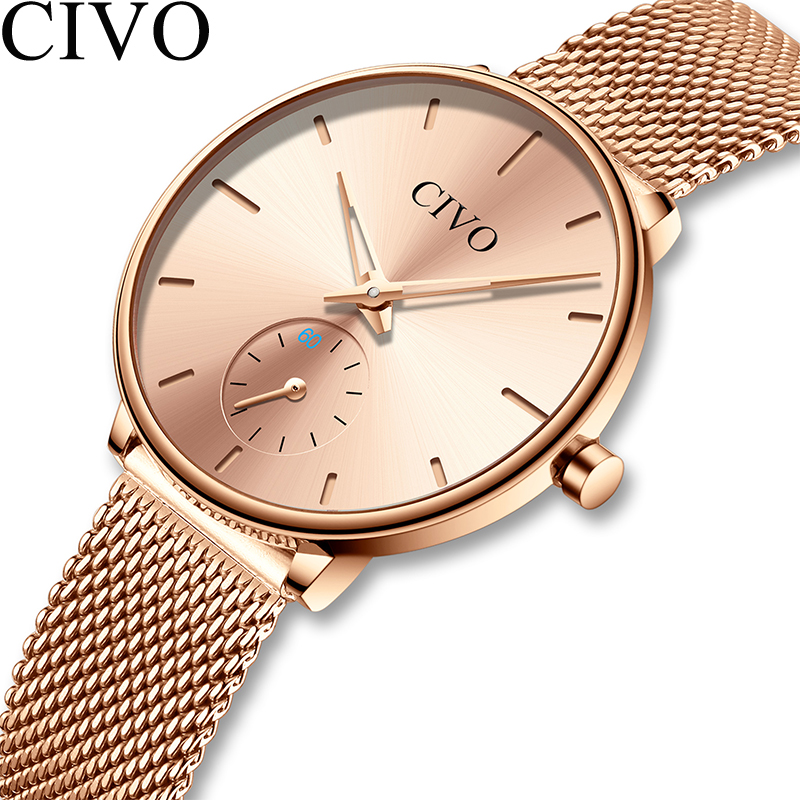 CIVO de lujo Casual damas reloj impermeable de oro rosa de acero de malla  de reloj de cuarzo de moda de las mujeres relojes reloj Relogio femenino 54df2fa17dbc