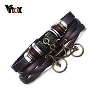 Vnox Vintage Lederen Touw Fiets Bedelarmband Handgemaakte Ketting Link Bike Wrap Armband Bangle Mannen Mannelijke Sieraden