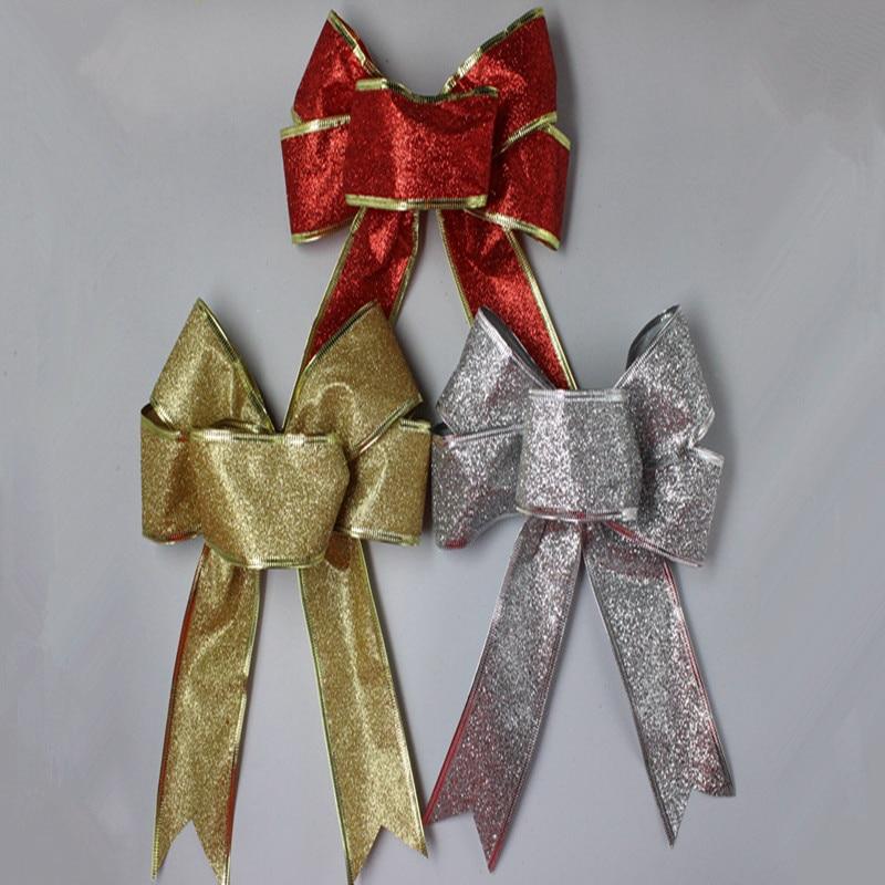 5 Unids / lote 25 cm Grande Brillante Glitter Ribbon Bow Decoración - Para fiestas y celebraciones - foto 3