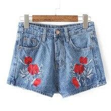 Лето новой женской мультфильм вышивка случайный джинсы брюки прямая трубка джинсовые шорты производители оптовая