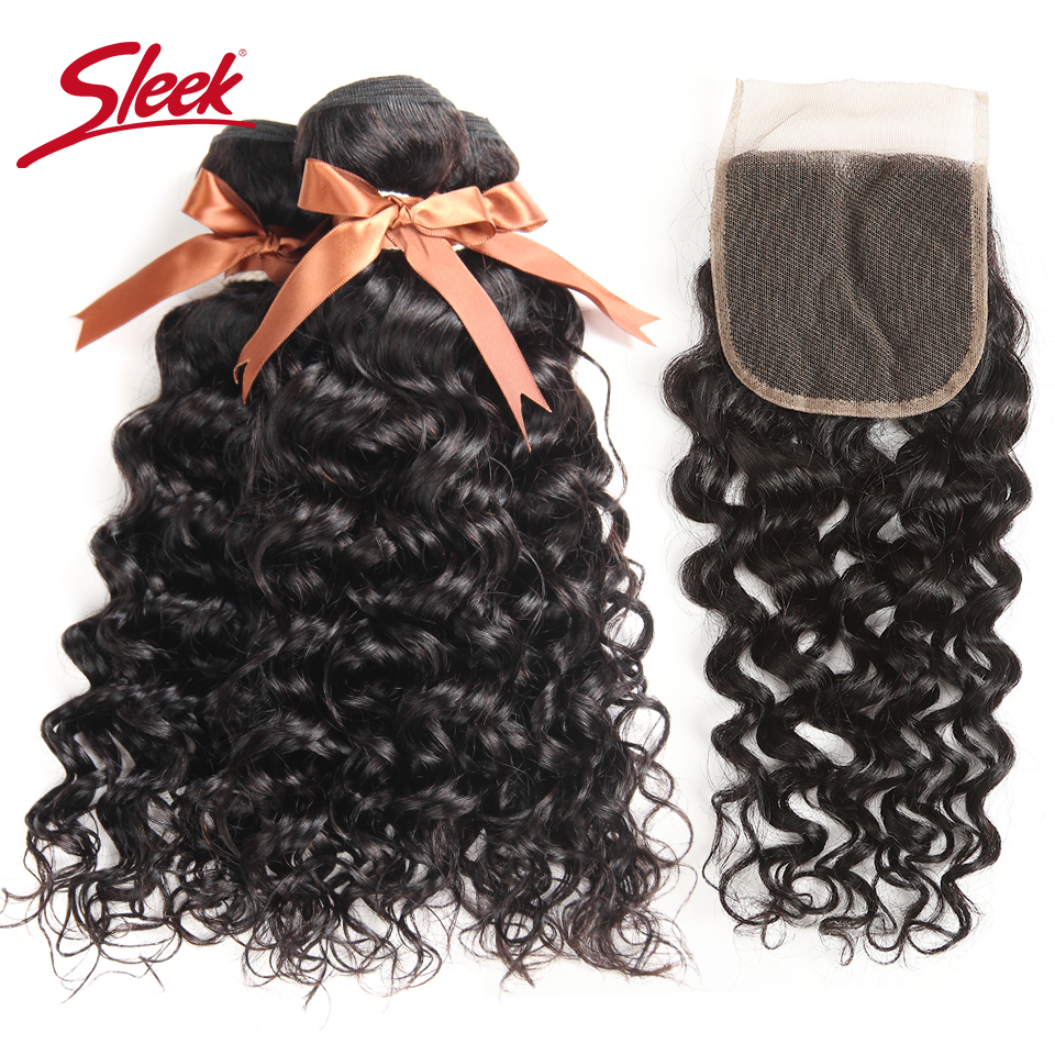 Sleek Water Wave With Closure 3 4 Bundles With Closure Non Remy Human Hair Extension Brazilian