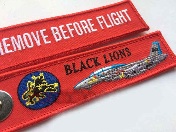 VF-213 สีดำสิงโตพวงกุญแจลบก่อนที่เที่ยวบินบุรุษสตรีสีแดงปักคีย์โซ่แหวนป้ายเย็บปักถักร้อยแท็ก