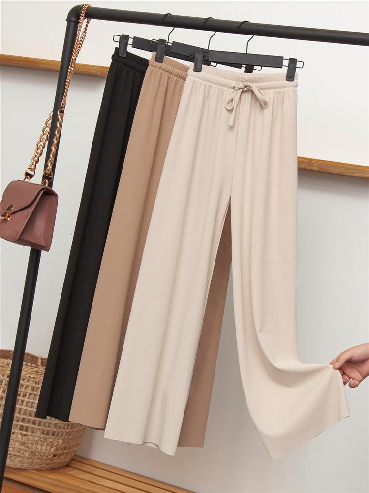 Ice silk   wide     leg     pants   female summer high waist fashion drape students loose nine points straight   pants   thin section was thin