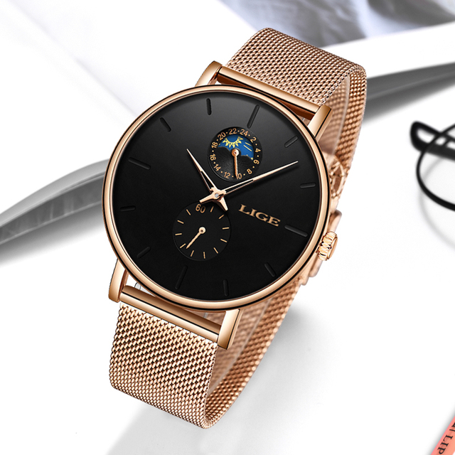 LIGE Womens Watches Top Brand Luxury Waterproof Watch Fashion Ladies Stainless Steel Ultra-Thin Casual Wrist Watch Quartz Clock