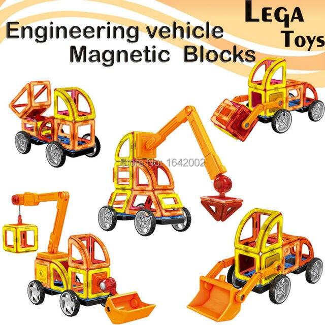 3D DIY Magnetic Designer Blocks Engineering vehicle Construction Enlighten Bricks Educational Magnetic Blocks Model Kits 60PCS