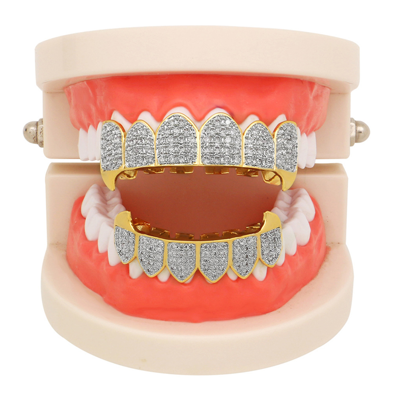 ICY Bling Grillz Set Top /& Bottom Teeth 2 Two Row Silver Tone Upper /& Lower Hip Hop Grills