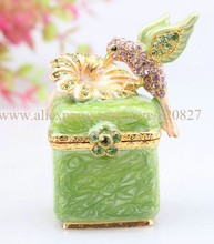 Trinket Box with Birds 2 Jeweled Faberge Inspired Jewelry Gift Love Hinged box Vintage Bird Figurine