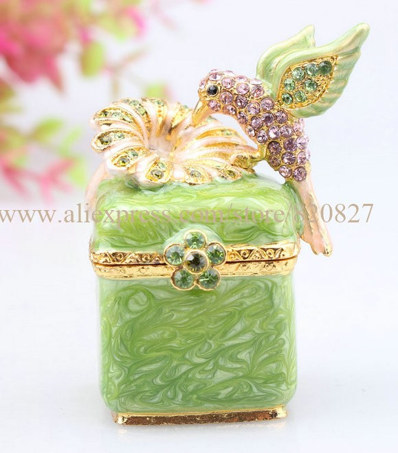 Trinket Box with Birds 2 Birds Jeweled Faberge Inspired Jewelry Gift Box Love Birds Hinged Trinket box Vintage Bird Figurine