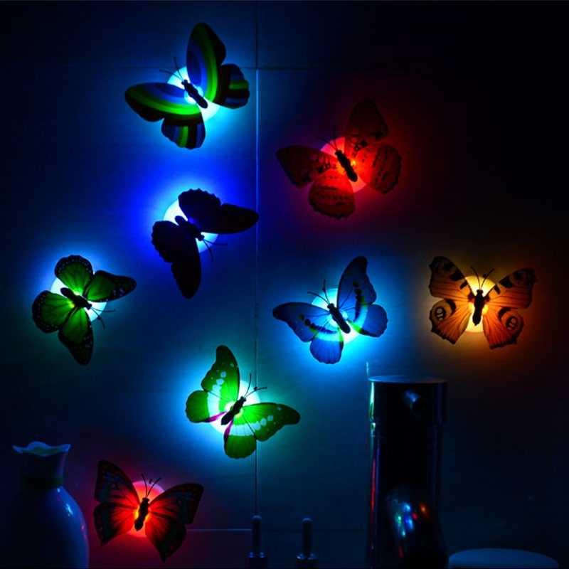 10 Uds. Luces de libélula luminosas coloridas con forma de mariposa para fiestas, bodas, bodas, Navidad, suministros de decoración, lámpara de pared