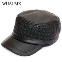 Wuaumx High Quality Fall Winter Genuine Leather Military Hats For Men Real Sheepskin Men's Baseball Cap Flat Top Leather Hat