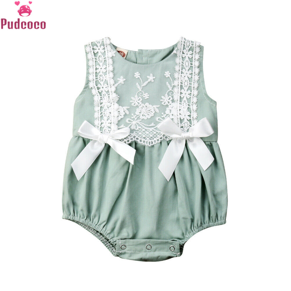Pudcoco New Summer Infant Newborn Romper Baby Girl Clothing Lace Ruffles Jumpsuit Cute Bow Sunsuit Baby Rompers