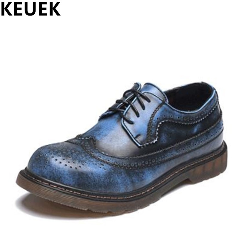 Spring Autumn Vintage Men Brogue Shoes Genuine leather Breathable Derby Shoes Casual Outdoor shoes Men Flats 022 merkmak hot sale men flats shoes oxfords genuine leather spring winter fur wam breathable man casual outdoor shoes bigsize 37 48