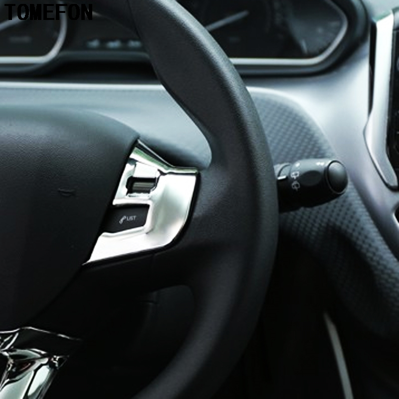 TOMEFON ABS Chrome Glossy For PEUGEOT 308 2014 2015 2016 Steering Wheel Decorative Sticker Accessories Trim Car Cover Styling