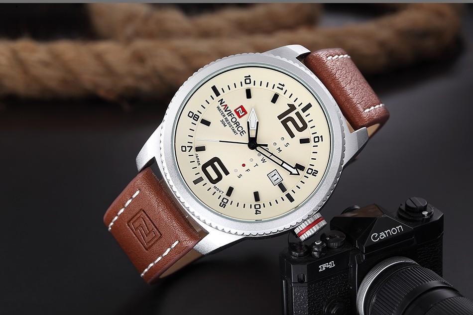 2017 De Luxe Marque NAVIFORCE Hommes Sport Militaire Montres Hommes de Quartz Date Horloge Homme En Cuir Décontractée Montre-Bracelet Relogio Masculino 9