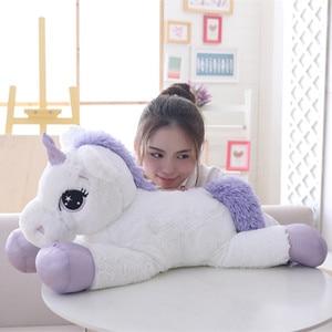 Image 4 - W gigantycznym rozmiarze 110/60cm Kawaii pluszowy jednorożec miękkie nadziewane popularne lalki z kreskówek zwierząt koń wysokiej jakości zabawki dla dzieci dziewczyny