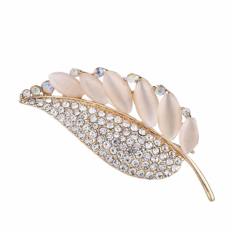 หินโอปอล Leaf Pins และเข็มกลัดสำหรับผู้หญิง Rhinestone คริสตัลเข็มกลัดผ้าพันคอ Lapel Pin พืชใบ Feather Pin เสื้อผ้าเครื่องประดับ