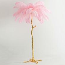 Noridc Ostrich Feathers Copper Floor Lamp Standing for Living Room Bedroom Lights Home Decor Indoor Lighting