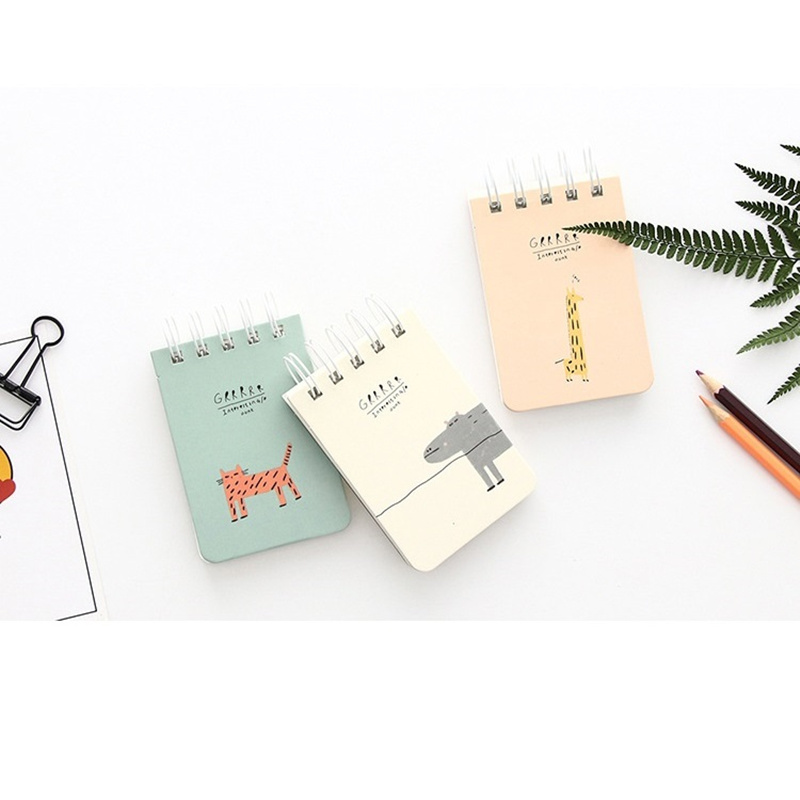 Mini spiral coil notebook Cute love cat Animal tiger giraffe memo book planner journal Stationery office School supplies F795 2018 pet transparent sticky notes and memo pad self adhesiv memo pad colored post sticker papelaria office school supplies