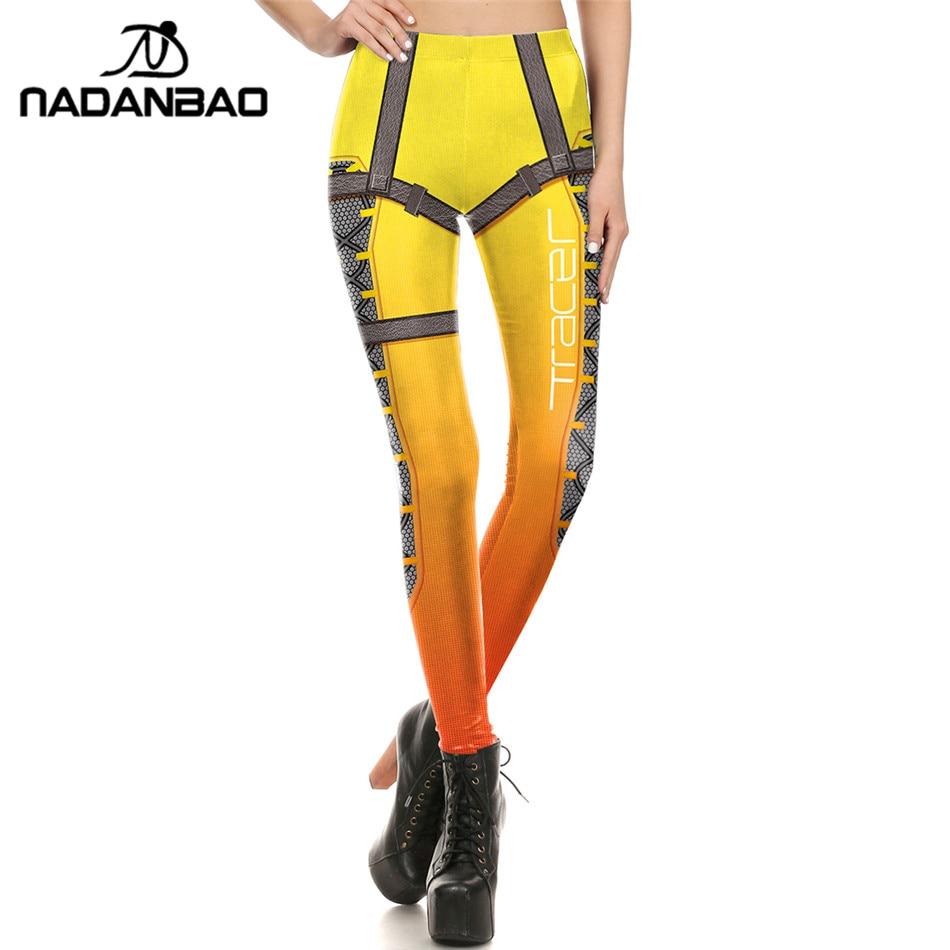 NADANBAO العلامة التجارية الجديدة للنساء طماق سوبر هيرو Tracer Leggins مطبوعة leggins امرأة الملابس