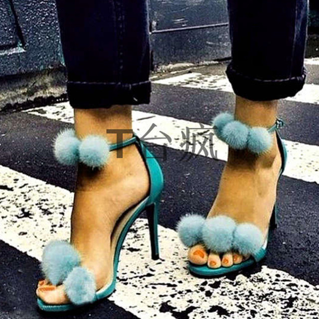 Thin High Heels Open Toe Party Dress Shoes 2016 Sexy Blue Fur Ball Gladiator Sandals Women Pumps Woman Leather Shoes Size 35-41