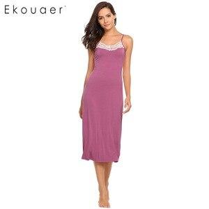 Image 2 - Ekouaer Sexy Lingerie Night Dress Sleepwear Women Sleeveless Lace Trim Spaghetti Strap Nightie Nightgown Female Sleep Nightdress
