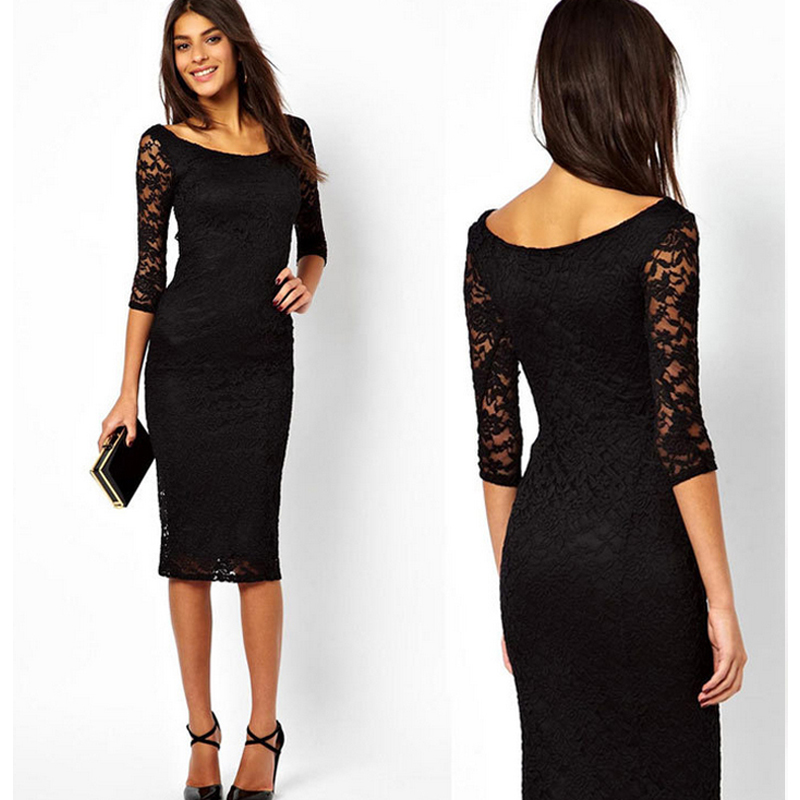 2016 summer new brand design o neck slim one piece lace girls dress with three quarter sleeve 2