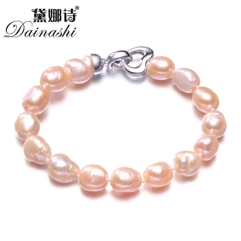 Dainashi 90% OFF White Pink Purple Gray Cultured Freshwater Pearl Jewelry Baroque Bracelet With 925 Sterling Silver Clasp 2018