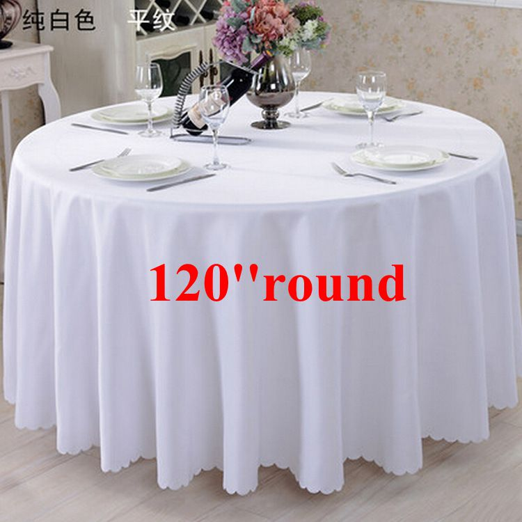 Free shipping 10pcs white 120 39 39 100 polyester round table for 120 round white table linens