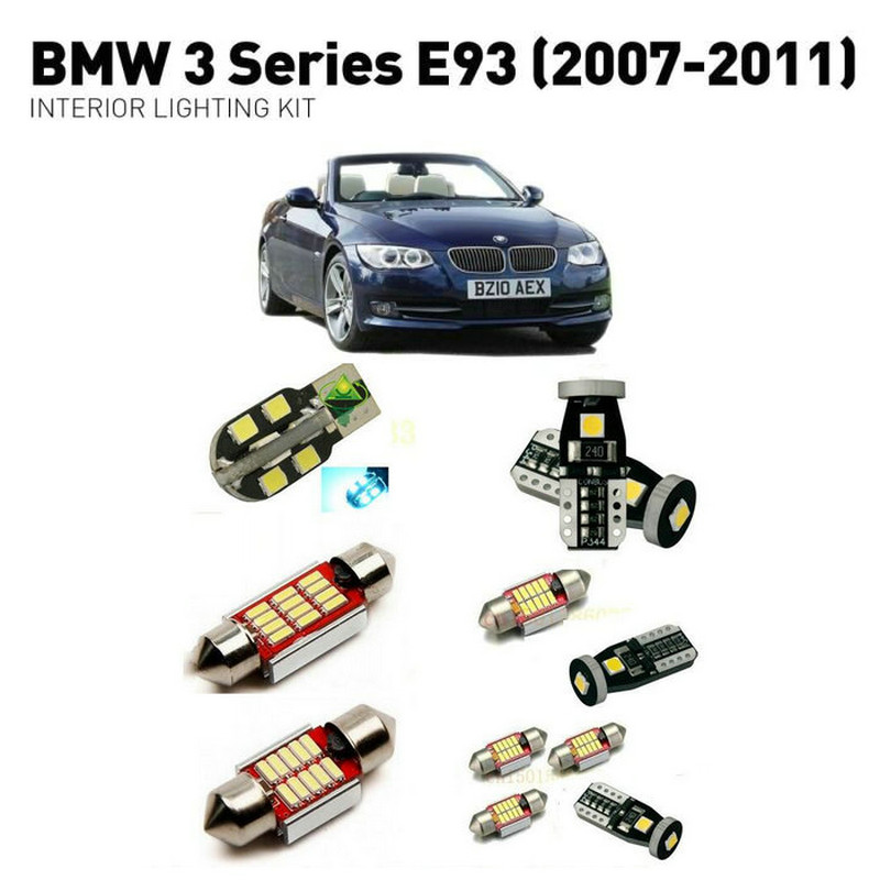 Led interior lights For BMW 3 series E93 2007-2011 15pc Led Lights For Cars lighting kit automotive bulbs Canbus Error Free