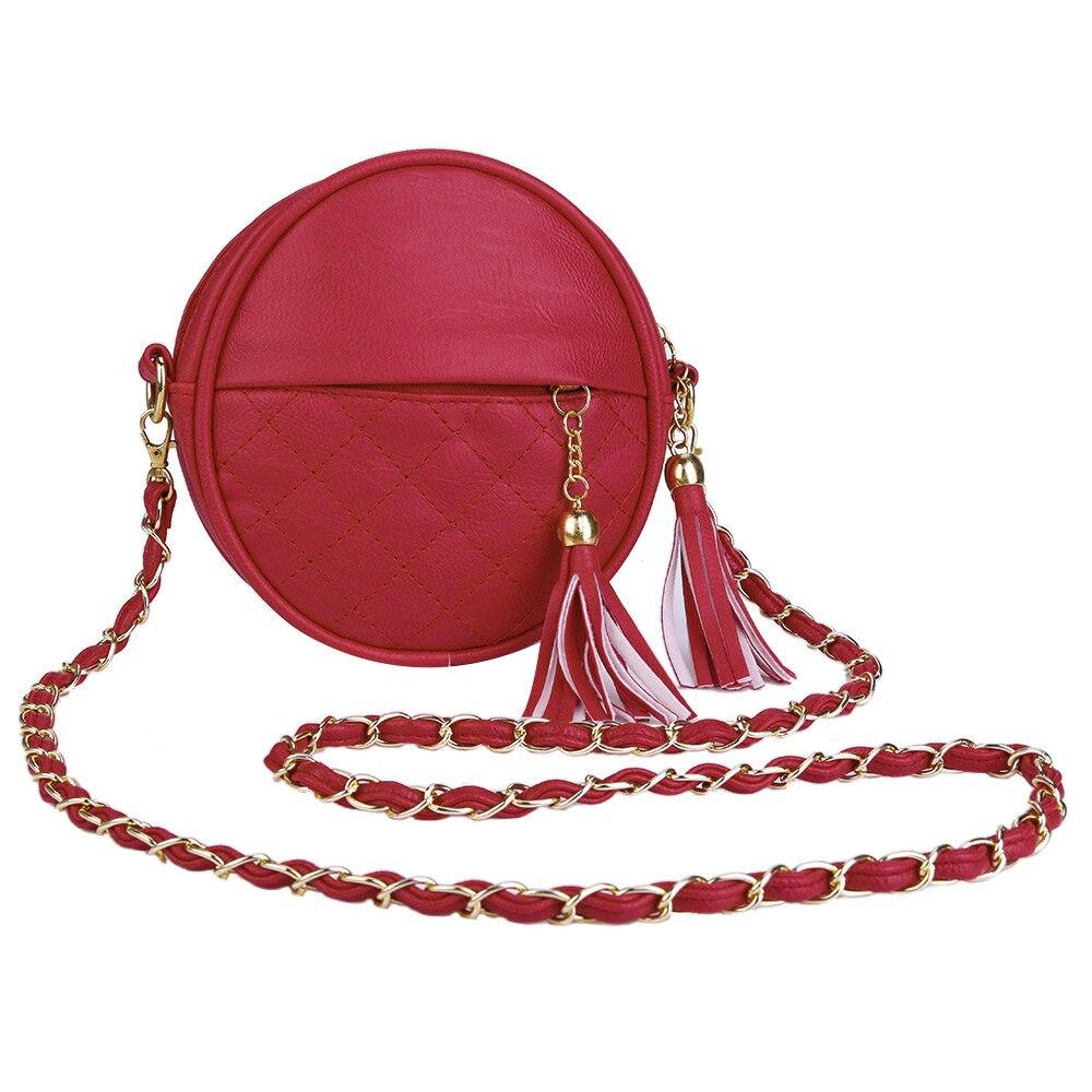 2018 Plaid Tassel Women PU Circular Crossbody Female Knitting Round Detachable Chain Belt Strap Shoulder Messenger Bags