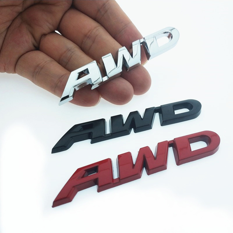 CDIY 3D Chrome Metal <font><b>Sticker</b></font> AWD Emblem Badge Rear Decal Logo for Toyota Impreza Subaru Honda <font><b>4X4</b></font> <font><b>Off</b></font> <font><b>Road</b></font> SUV 4WD Car Styling image