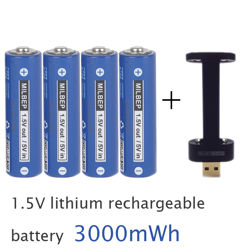 4PCS 1.5V AA lithium polymer rechargeable battery 3000mwh + 2 slots USB charger 2A li-ion cell replace Ni-Mh type Battery