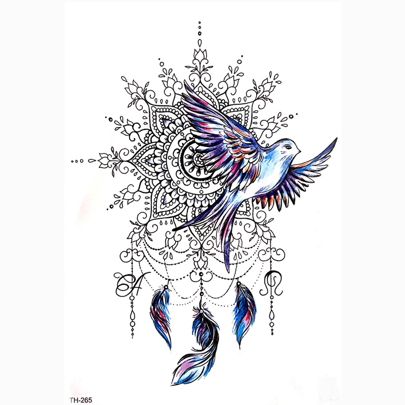 DIY Body Art Temporary Tattoo Colorful Dreamcatcher Swallow Watercolor Painting Drawing Decal Waterproof Tattoos Sticker-in Temporary Tattoos from Beauty & Health