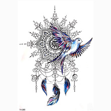 DIY Body Art Temporary Tattoo Colorful Dreamcatcher Swallow Watercolor Painting Drawing Decal Waterproof Tattoos Sticker