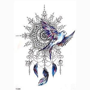 Image 1 - DIY Vücut Sanatı Geçici Dövme Renkli Dreamcatcher Kırlangıç Suluboya Boyama Çizim Çıkartması Su Geçirmez Dövmeler Sticker