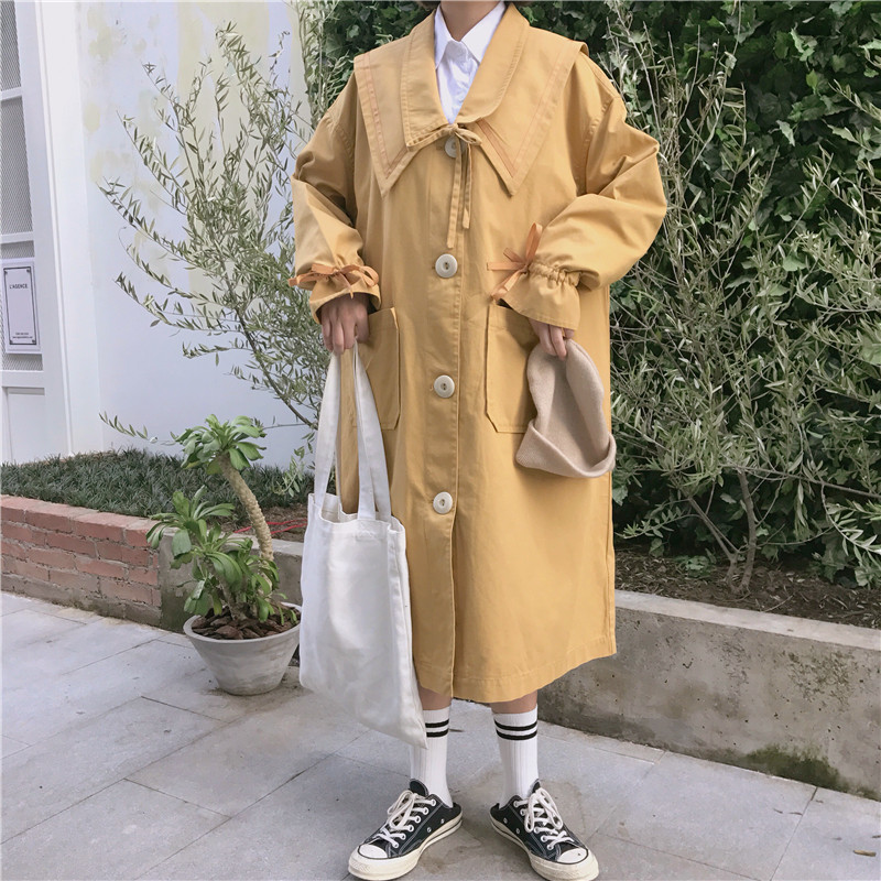 Plus Size Women's Single Breasted Long   Trench   Coat with Double Pockets Fashion Stylish Fall 2019 Outerwear