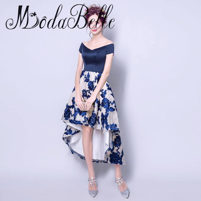 d58a51be7c US $102.0 |modabelle Short Front Long Back Prom Dresses Robe De Soiree 2017  Embroidery Off The Shoulder Navy Blue Prom Dress Abito Da Sera-in Prom ...