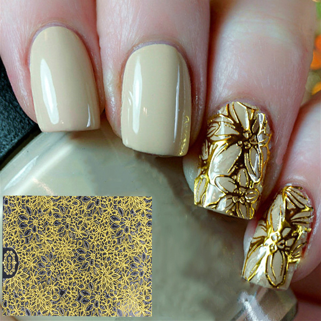 2017 New Fashion Nail Decoration Art 1pcs Gold Pattern Designs Sticker Accessories
