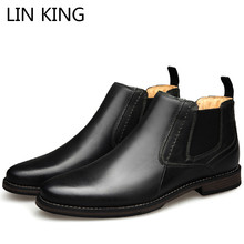 LIN KING Big Size Top Quality Men Genuine Leather Spring Men Boots Autumn Waterproof Ankle Boots Boots Man Outdoor Working Boots genuine leather boots women 2016 new arrival women ankle boots fashion spring autumn womens boots big size 34 41 free shipping