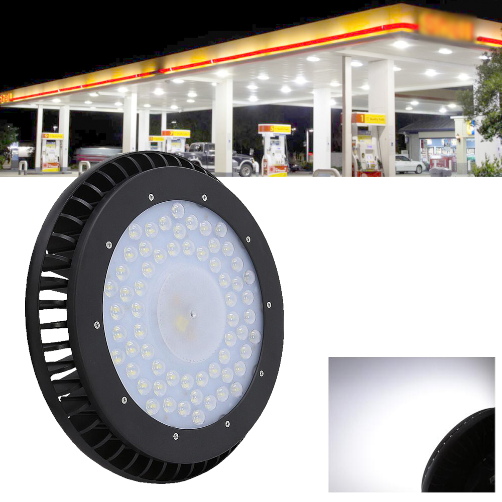 Cold White 100W 200W Industrial high bay Lamp LED UFO High Bay Light factory supermarket basketball gymnasium Lighting Warehouse nickel bay nick