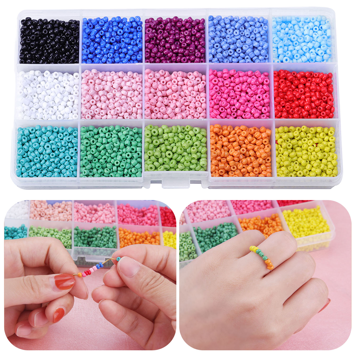 Colorful Beads 3mm Glass Beads Pony Mini Beads For Making Jewelry Necklaces Bracelets Earring Gift DIY Craft Children Adult