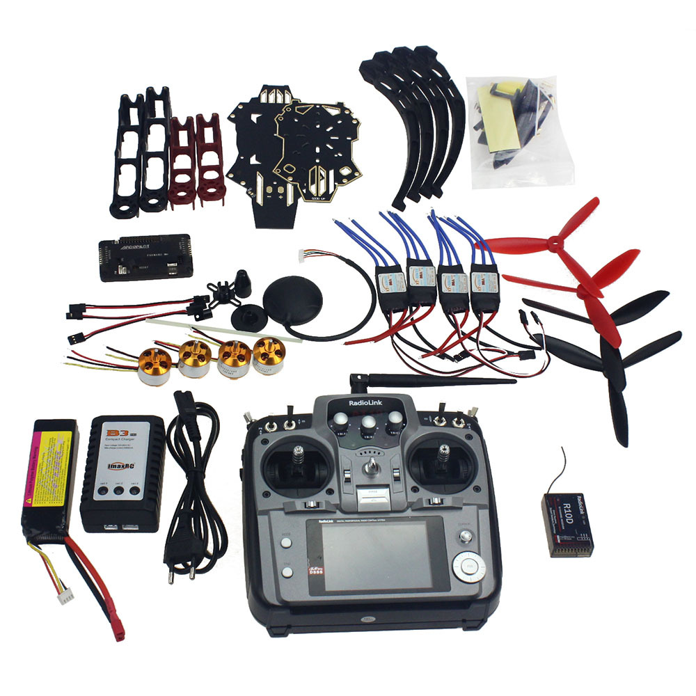 Full Kit RC Drone Quadrocopter Aircraft Kit Q330 Across Frame 6M GPS APM 2.8 Flight Control AT10 Transmitter F11797-E