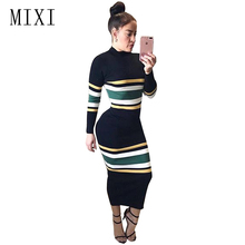MIXI Autumn Winter Women Long Dress Stand Collar Long Sleeve Striped Knitted Dresses Casual Elegant Bodycon Party Dress Vestidos 3 11t girls knitted dresses long sleeve letter print pullover dress child striped kids dress winter autumn casual clothes ca220
